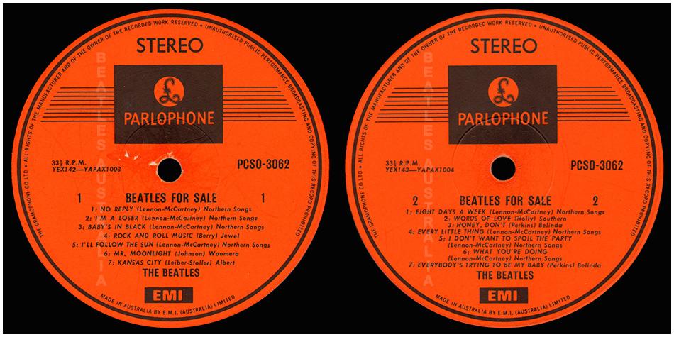 Beatles for Sale etiketti